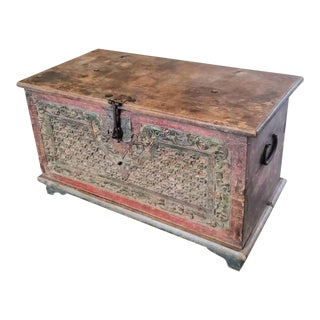 Antique Indonesian Carved and Painted Storage Chest For Sale
