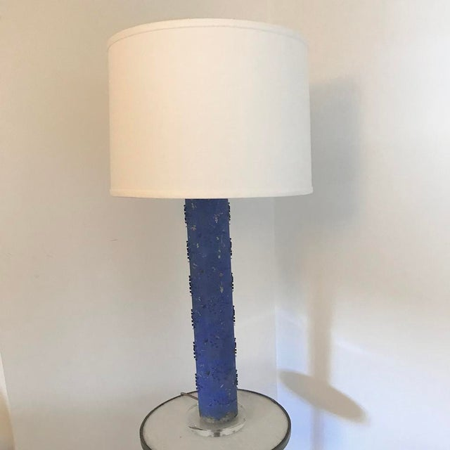 Klein Blue Wallpaper Roller Table Lamp For Sale - Image 4 of 4