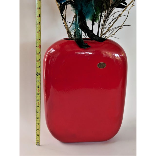 1960s Large Mid-Century Modern Fire Engine Red Ceramic Vase For Sale - Image 5 of 12