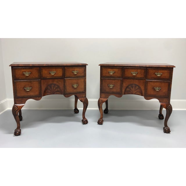 A Fine English Inlaid Burl Walnut Chippendale Lowboy Chests - a Pair For Sale - Image 13 of 13