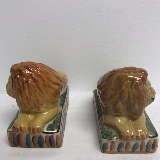 Carnival Staffordshire Style Ceramic Lion Figurines- a Pair For Sale - Image 3 of 5