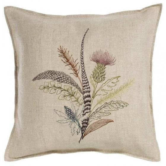 Contemporary Contemporary Thistle Linen Pillow For Sale - Image 3 of 3