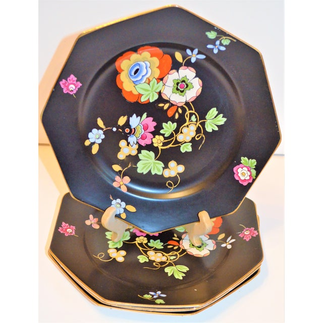 1920s 1920s Antique Art Deco Black and Floral Plates - Set of 4 For Sale - Image 5 of 12