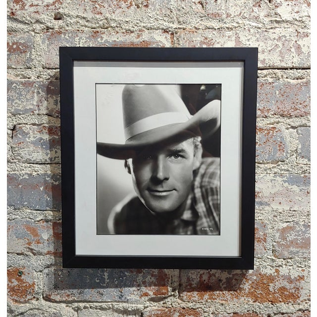 Black Randolph Scott - 1940s Hollywood Portrait by George Hurrell -Signed For Sale - Image 8 of 8
