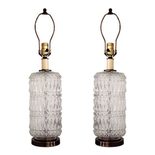 Vintage Faceted Glass Lamps w/Brass Base - A Pair