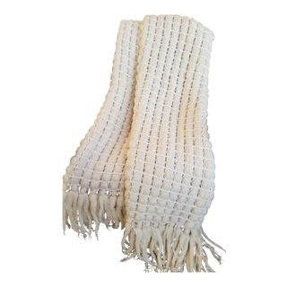 Italian Merino Wool Tassel Throw For Sale