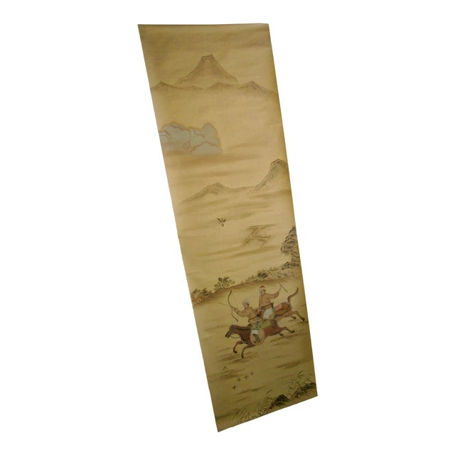 Painted Hunting Scene Mural Wallcovering For Sale