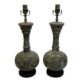 Modern French Acid Washed Bronze Lamps - a Pair For Sale