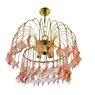 Murano Glass Chandelier Pink Blossom Gilt Frame, 1970s