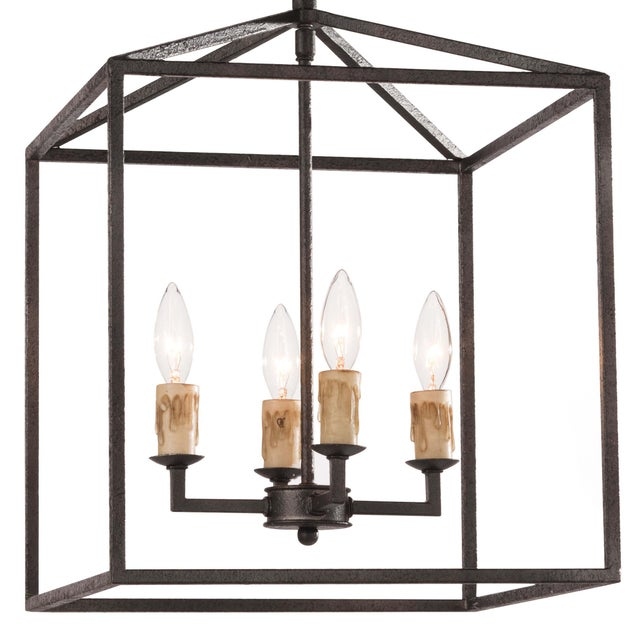 Cape Lantern Small in Black Iron For Sale - Image 4 of 6