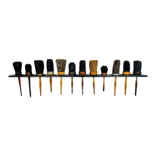 Antique Shaker Style Turned Wood Handle Horse Hair Brushes - Set of 12