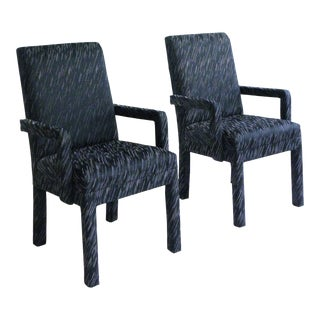 1980s Vintage Parsons Armchairs- A Pair For Sale