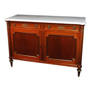 Louis XVI Style Walnut Marble Top Server For Sale