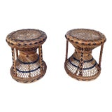 Image of Pr. Wicker Stools For Sale
