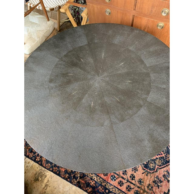 Made Goods Contemporary Made Goods Black Faux Shagreen Round Dining Table For Sale - Image 4 of 5