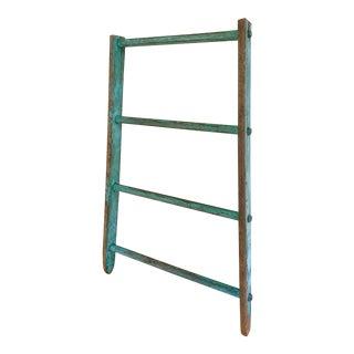 Antique Turquoise Wood Ladder, Blanket or Towel Rack For Sale