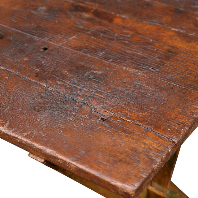 French Country Late 19th-Early 20th Century Trestle Table For Sale - Image 3 of 6