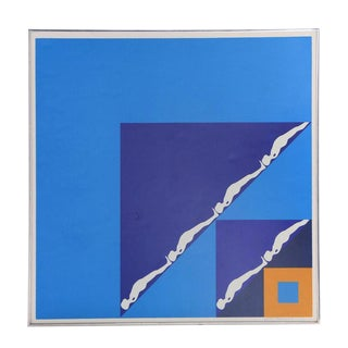 """""""White Figures in Blue Triangles"""" Serigraph by Ernest Tino Trova For Sale"""