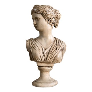 1970s Vintage Classical Plaster Greek Goddess Diana Bust For Sale