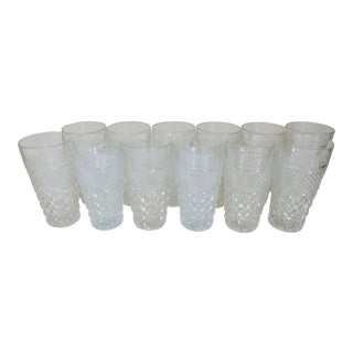 Vintage Anchor Hocking Wexford Clear Glass Crystal Tall Drinking Water Glasses Set of 12 For Sale