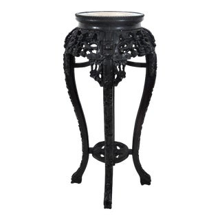 Early 20th Century Chinese Rosewood & Marble Four Dragons Pedestal or Plant Display Stand For Sale