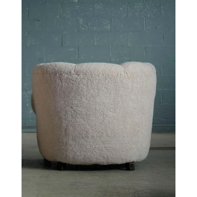 Large Size Club Chair in Lambswool Model 1518 by Fritz Hansen, Denmark, 1940s For Sale - Image 9 of 10