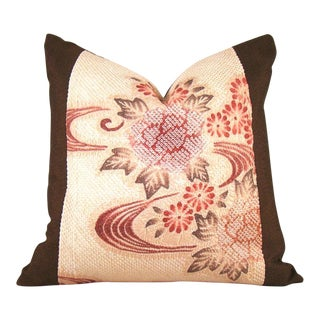 Japanese Streamside Floral Silk Shibori Pillow Cover For Sale
