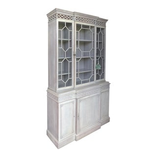 Painted Gray White-Washed Finish Display Cabinet For Sale