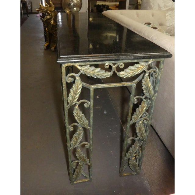 Traditional Traditional Maitland Smith Marble Top Iron Console Table For Sale - Image 3 of 13