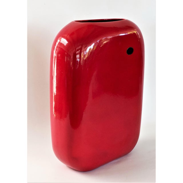 Red Large Mid-Century Modern Fire Engine Red Ceramic Vase For Sale - Image 8 of 12