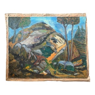 1930s Modern Expressionist Landscape Oil Painting by Joachim Aviron For Sale