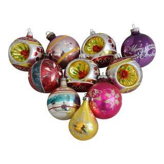 Vintage Colorful Christmas Tree Ornaments - Set of 10 For Sale