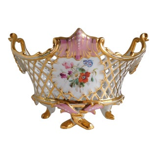 Beautiful Pink & Gold Floral Porcelain Footed Basket