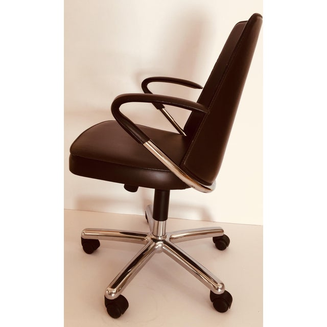 """Leather """"Luna"""" Brown Leather Office Chair by Martino Perego for Fasem For Sale - Image 7 of 13"""