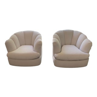 Milo Baughman Preview White Swivel Accent Chairs - A Pair For Sale
