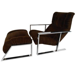 Mid-Century Modern Lounge Chair With Ottoman After Milo Baughman For Sale