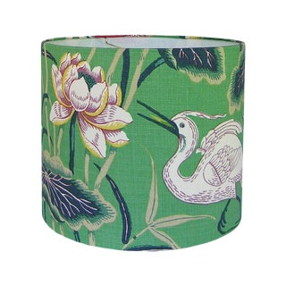 New, Made to Order, Schumacher Lotus Garden Jade Floral Fabric, Large Drum Lamp Shade