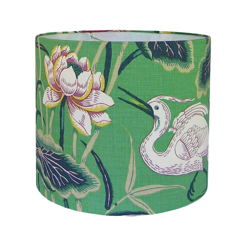 New, Made To Order, Schumacher Lotus Garden Jade Floral Fabric, Large Drum  Lamp