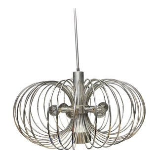 Round Metal Cage Chandelier for Gaetano Sciolari for Lightolier For Sale