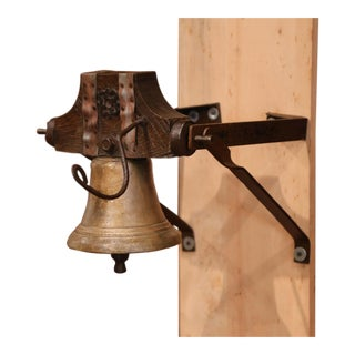 19th Century French Bronze Bell With Original Metal and Oak Wall Bracket For Sale