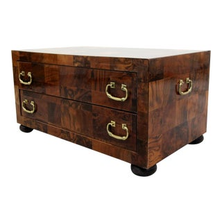 Vintage Patchwork Burl and Brass 2 Drawer Chest Cabinet For Sale