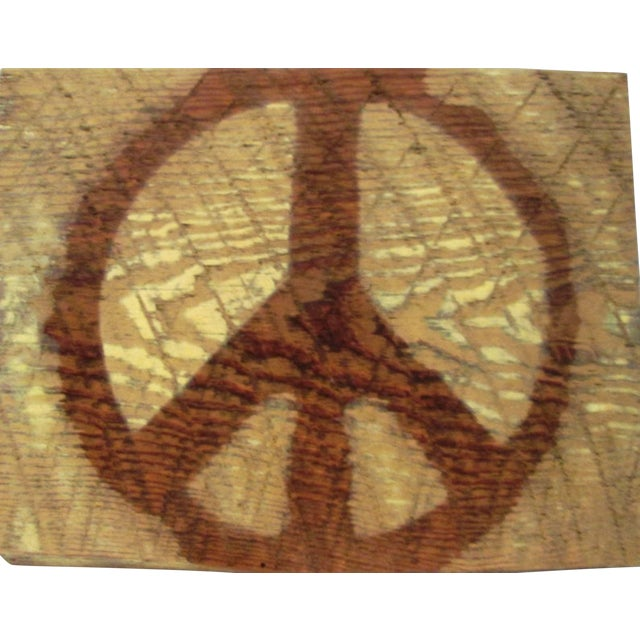 1960s Hanging Georgia Barn Wood Pyrographed Peace Sign For Sale