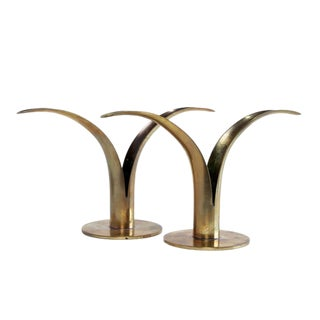 Ystad Mid-Century Brass Candle Holders - A Pair