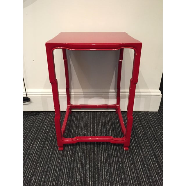 Modern-Asian Red Square Side Table - Image 2 of 5