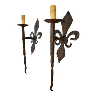 French Hands Made Wrought Iron Torchiere Sconces- a Pair For Sale