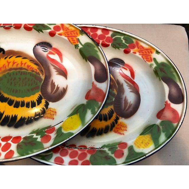Metal Enameled Midcentury Turkey Platters, Pair For Sale - Image 7 of 9
