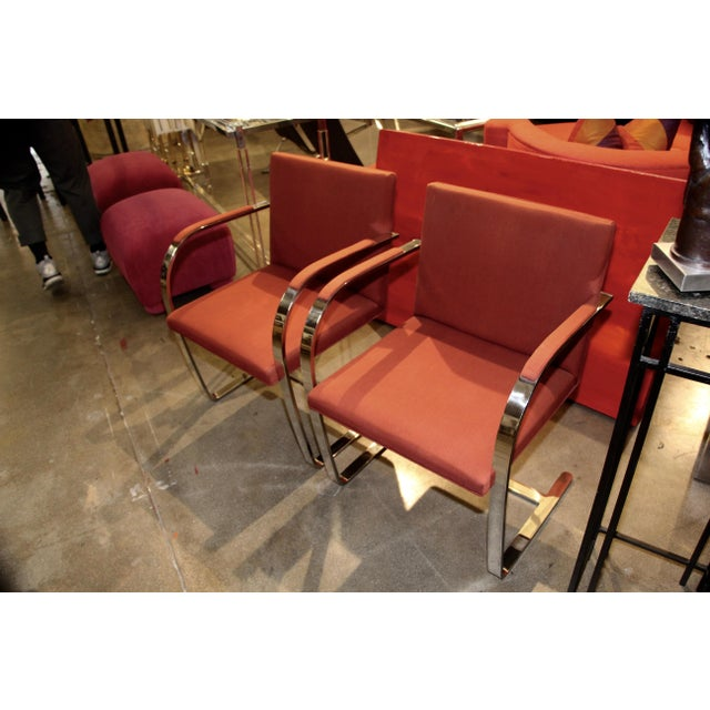 A nice pair of Labeled Knoll Mies van der Rohe flat bar chairs. Only one chair still bears the label which dates to 1980....