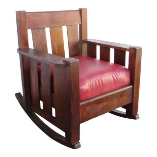 Mission Art and Craft Early 1900s Oak Rocking Chair 2407 For Sale