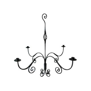 1980s Iron Hand Forged Candelabra Chandelier For Sale