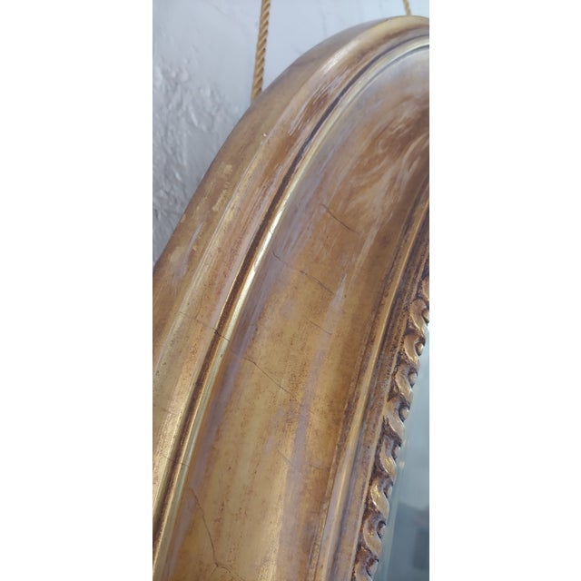 Gold Distressed Gilt Oval Antiqued Mirror Hung by Rope For Sale - Image 8 of 11